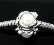 Stopper perle med acryl perle Hvid