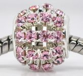 Metal perle med rhinsten 12 x 11mm pink