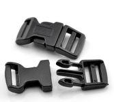 Lås til faldskærmsline sort plastic 4,6x2,1 cm