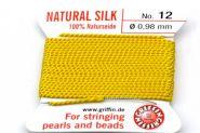 Ægte silketråd 0,98 mm Gul med nål