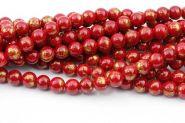 Mashan Jade Rød med guld 10 mm