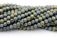 Mashan jade Blå/Grå med guld 6 mm