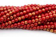 Mashan jade Rød med guld 6 mm
