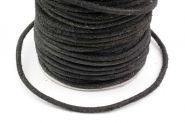 Lædersnor sort 4 mm rå uden voks