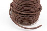 Lædersnøre Mellem Brun 4 mm rå uden voks