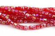 Glasperler Electroplated Rød Cube 4x4 mm