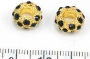 Rhinsten perle guld 5 mm hul