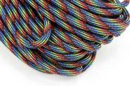 Faldskærmsline 4 mm sort regnbue