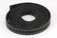 Imiteret læder med stikning 10x2 mm sort