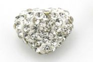 Rhinsten perle hjerte halvboret