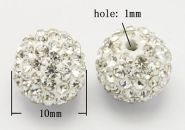 Rhinsten perle halvboret 10 mm klar