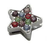 Slide perler Stjerne Platinfarvet med mix rhinsten