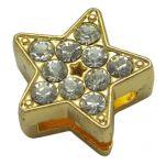 Slide perler Stjerne Guldfarvet med rhinsten