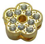 Slide perler Blomst Guldfarvet med rhinsten