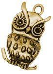Vedhæng Ugle antik guldfarve