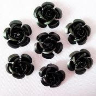 Metal rose 15 mm sort 10 stk