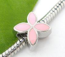 Metalperle pink blomst 13 x 10 mm