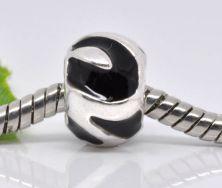 Metal perle med emalje 12x8 mm sort
