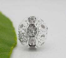 Rhinsten perle 10 mm klar sølvbelagt