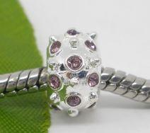 Metal perle med rhinstene 10x7 mm violet