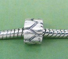 Metalperle med mønster 8x6 mm
