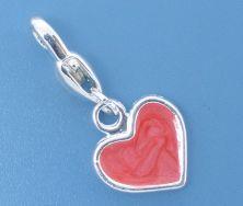 Clip on vedhæng hjerte 27x12 mm