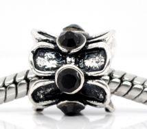 Metal perle med rhinsten 10 mm sort
