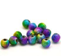 Acrylperle 6 mm multifarvet stardust 10 stk