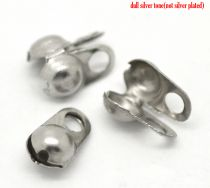 Endeøje til kuglekæde platinfarve til 3 mm kæde