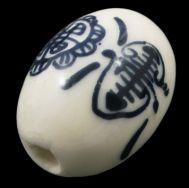 Porcelæns perler håndlavede 18x14 mm hvid m.blåt