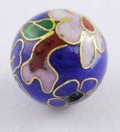 Cloisonne perler 16 m/m blå