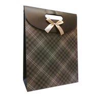 Smykkepose med sløjfe mørk brun
