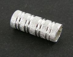 Perlerør med mønster sølv farve 10 stk