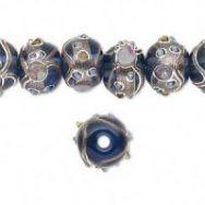Glasperler blå med sølv