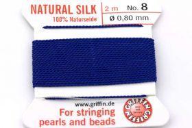 Ægte silketråd 0,80 mm Mørk blå med nål