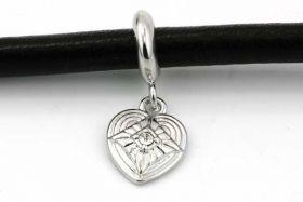 Charms til 6 mm snøre sølvbelagt hjerte med rhinsten
