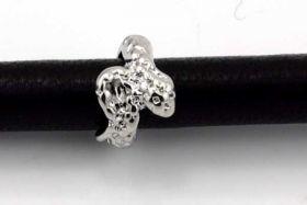 Charms til 6 mm snøre sølvbelagt slange