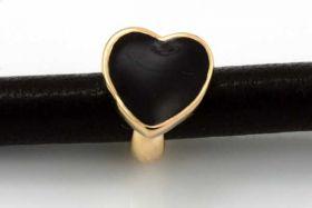 Charms til 6 mm snøre guldbelagt hjerte