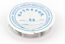 Smykkewire kobber Sølv farvet 0,6 mm 5 mtr