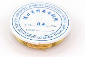Smykkewire kobber Guld farvet 0,4 mm 10 mtr