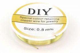 Smykkewire kobber Lys Guld farvet 0,8 mm 3 mtr