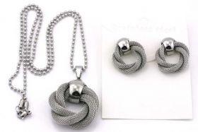 Rustfrit stål sæt med øreringe og halskæde