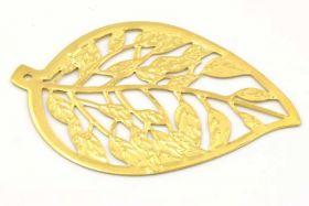 Vedhæng blad guldfarve 60x41 mm