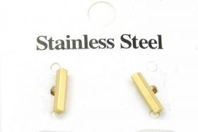 Rustfri stål ørestik rektangel - Guld