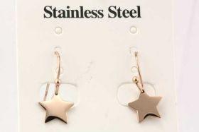 Rustfri stål ørehænger stjerne rose guld