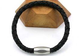 Armbånd i 6 mm flettet læder
