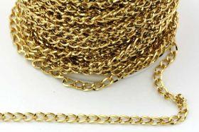 Rustfri stål kæde 6 x 4 mm Guld