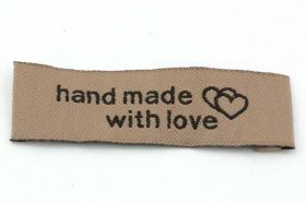 Hand made with love mærke 50x15 mm Brun