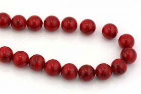 Rød Turkis rund 12 mm