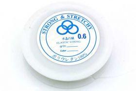 Elastiktråd, klar 0,6 mm, 11 mtr